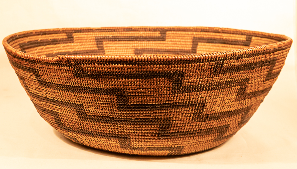 Mission Basket with Zig Zag lines lightning native american