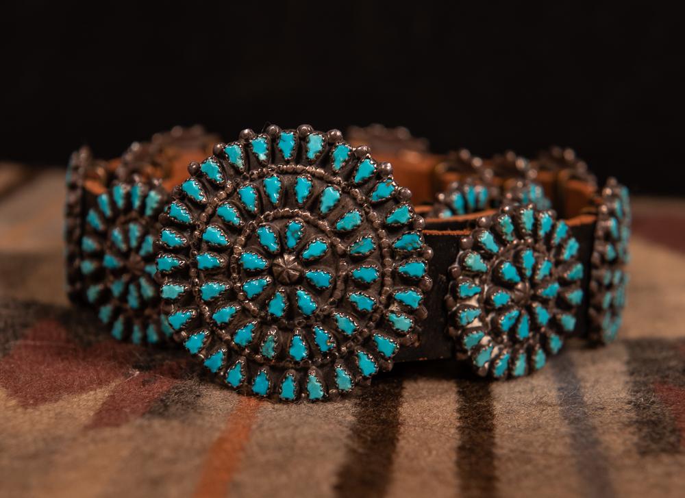 Zuni turquoise concho belt