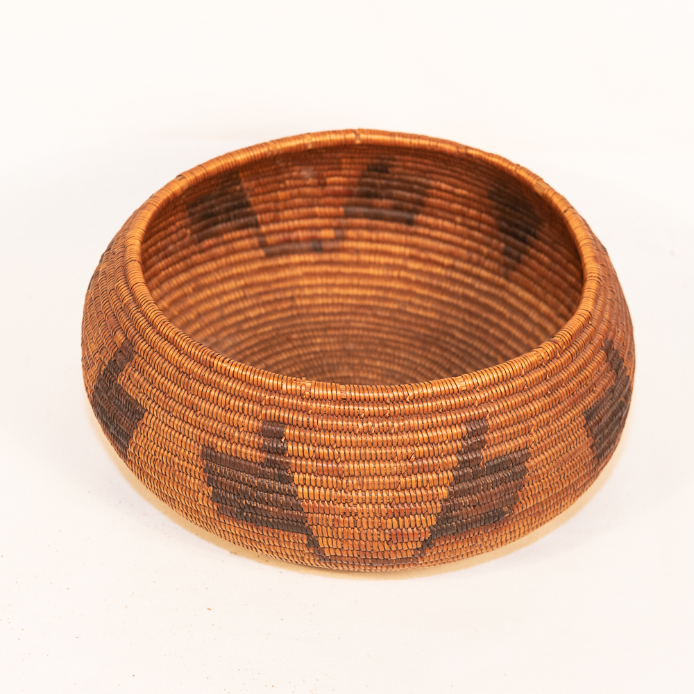 mission basket with antlers juncus native american