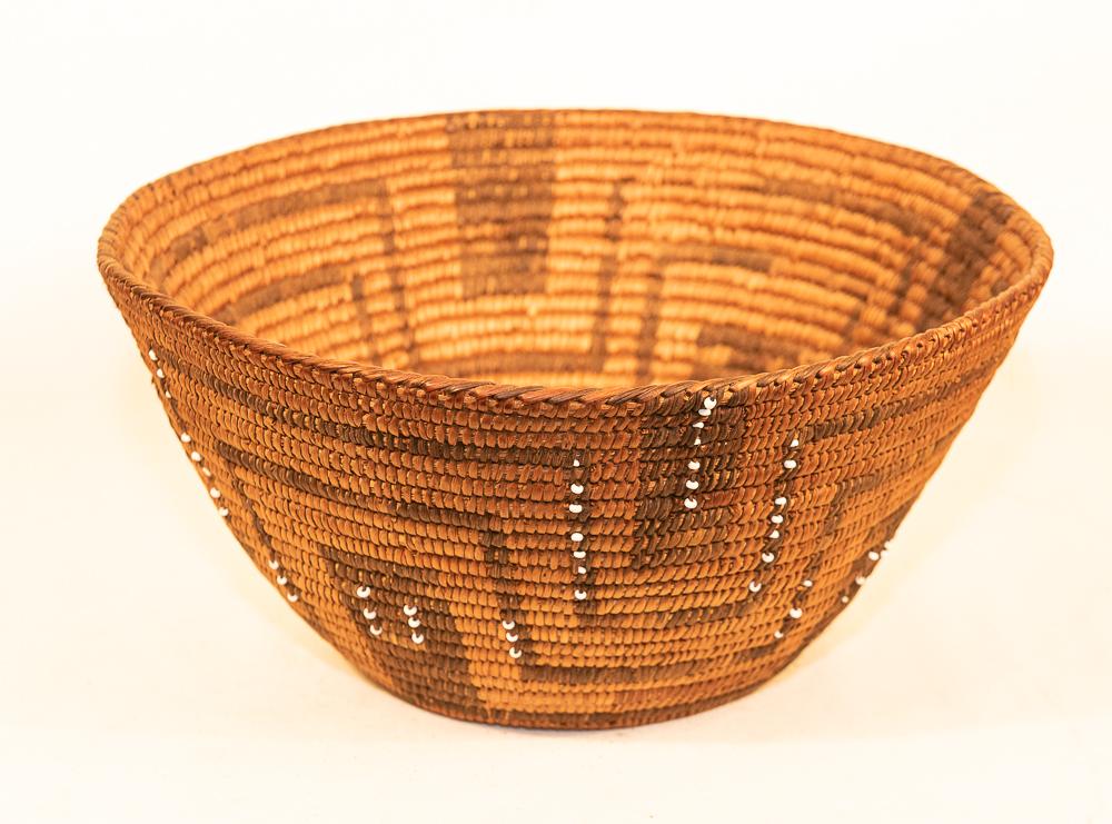 pima basket with trade beads