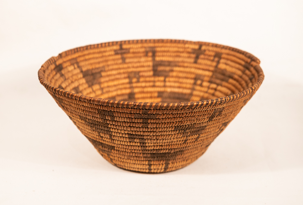 Pima basket with horses and crosses