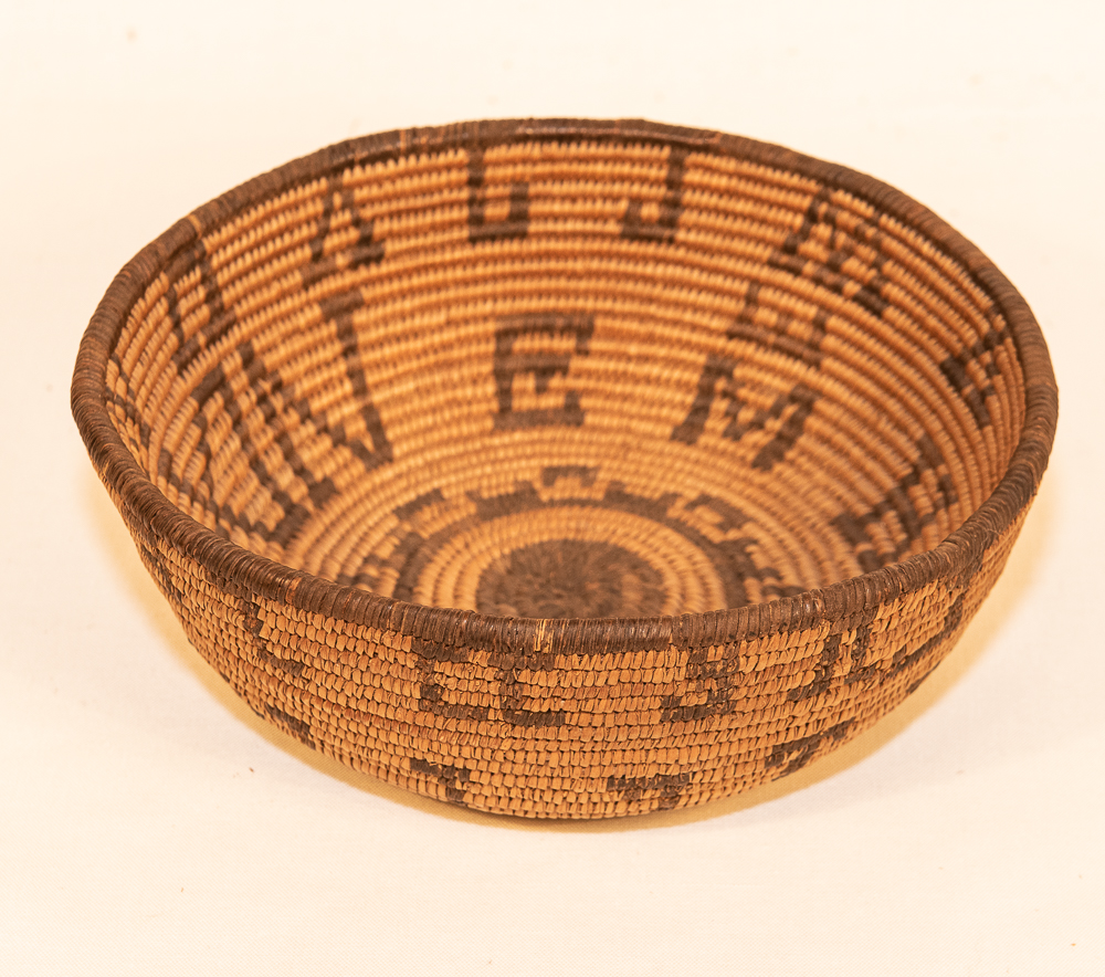 Apache basket bowl with letter forms